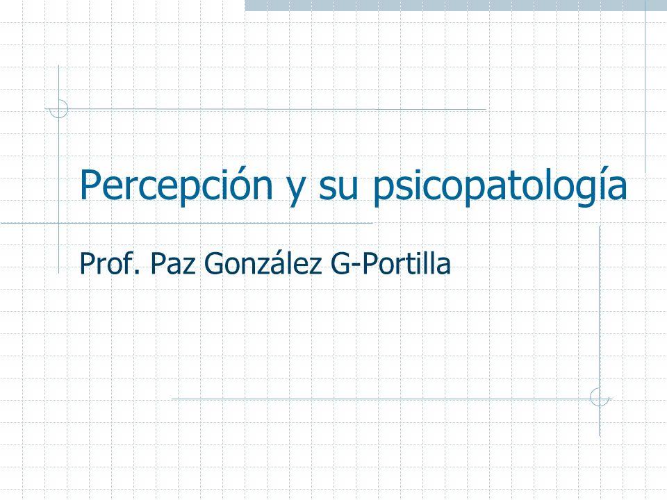 Percepción y su psicopatología Prof. Paz González G-Portilla