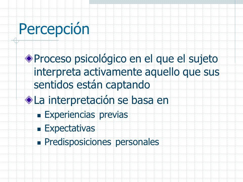 Percepción Proceso psicológico en el que el sujeto interpreta activamente aquello que sus sentidos están captando La interpretación se basa en Experie