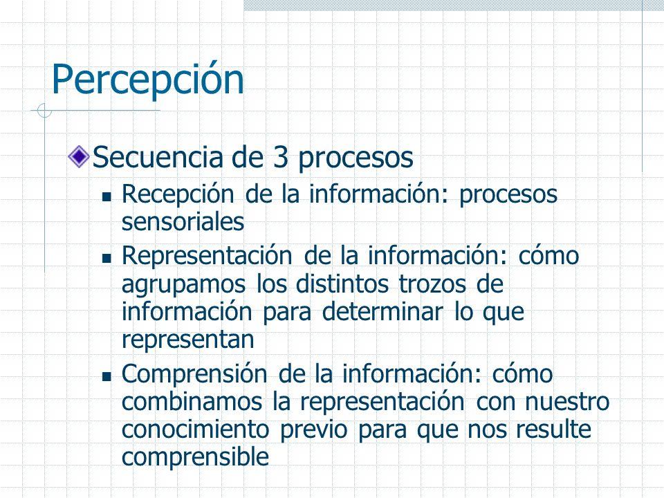 Percepción Secuencia de 3 procesos Recepción de la información: procesos sensoriales Representación de la información: cómo agrupamos los distintos tr