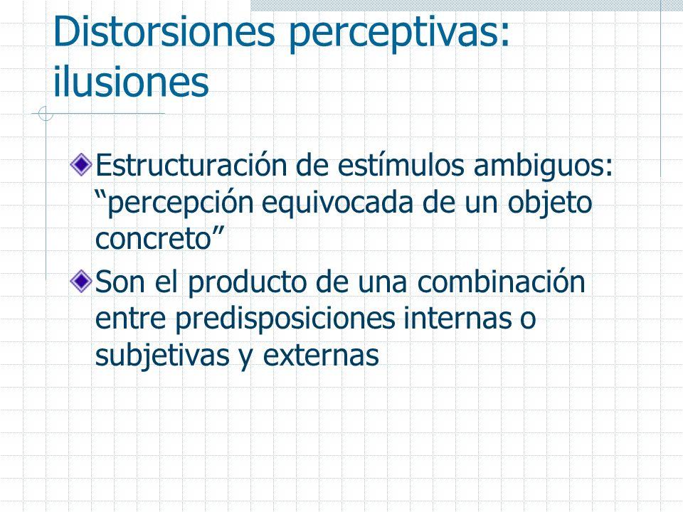 Distorsiones perceptivas: ilusiones Estructuración de estímulos ambiguos: percepción equivocada de un objeto concreto Son el producto de una combinaci