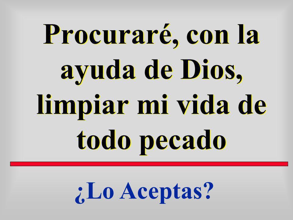 Procuraré, con la ayuda de Dios, limpiar mi vida de todo pecado ¿Lo Aceptas?