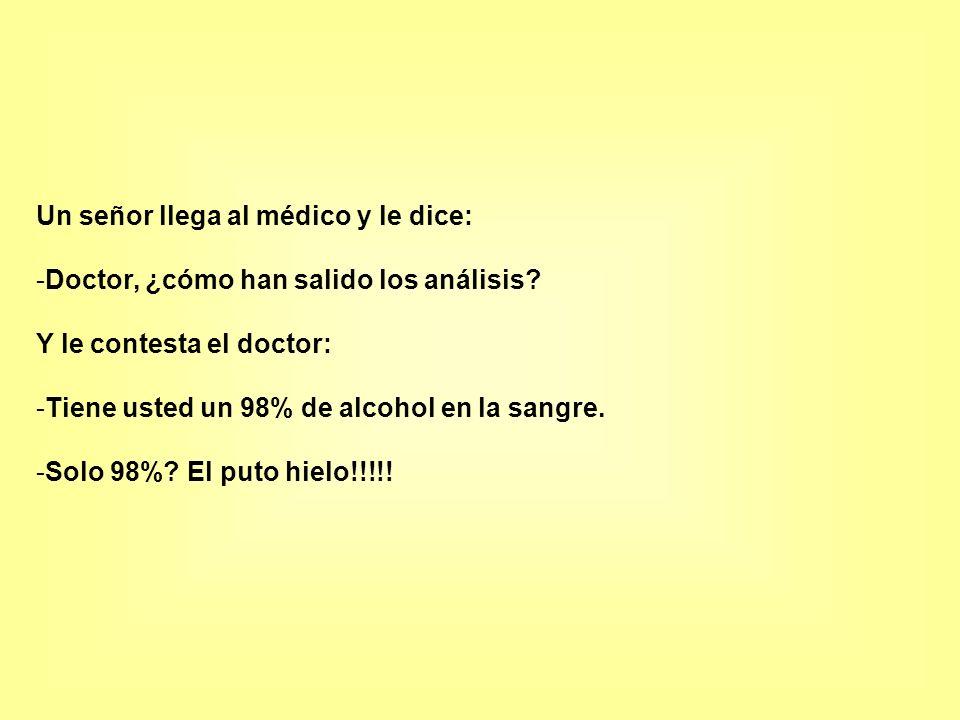 Un señor llega al médico y le dice: -Doctor, ¿cómo han salido los análisis? Y le contesta el doctor: -Tiene usted un 98% de alcohol en la sangre. -Sol