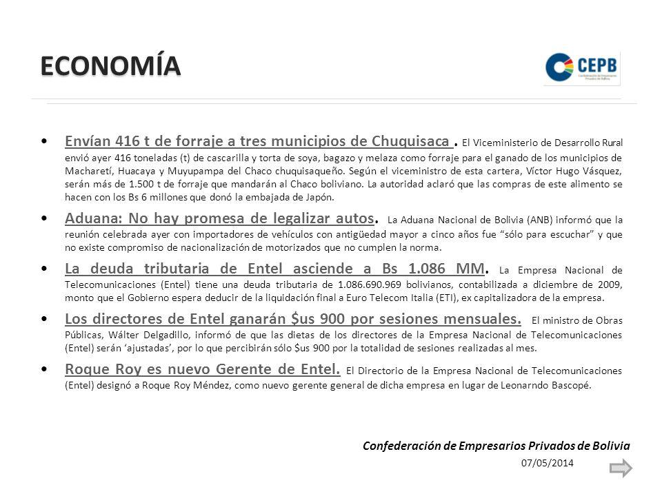 ECONOMÍA Envían 416 t de forraje a tres municipios de Chuquisaca.