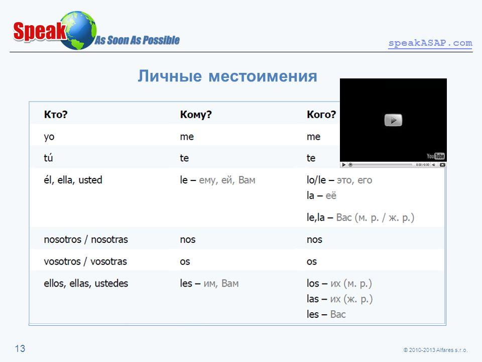 © 2010-2013 Alfares s.r.o. speakASAP.com 13 Личные местоимения