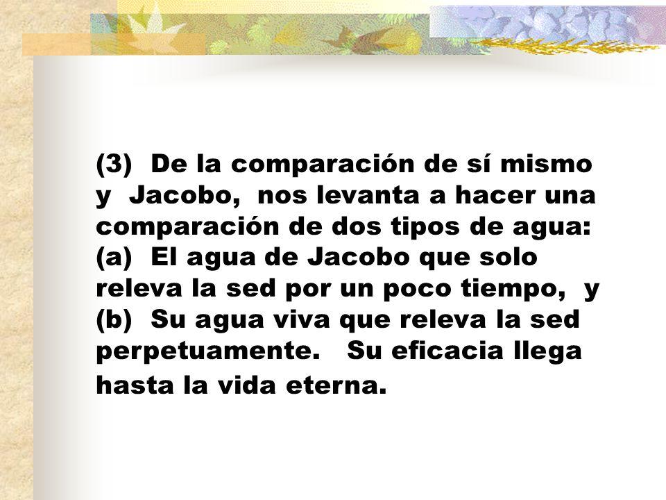 (3) De la comparación de sí mismo y Jacobo, nos levanta a hacer una comparación de dos tipos de agua: (a) El agua de Jacobo que solo releva la sed por