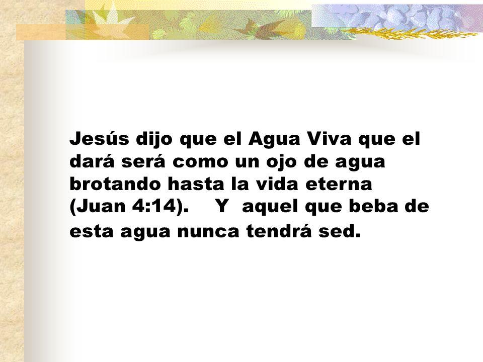 Jesús dijo que el Agua Viva que el dará será como un ojo de agua brotando hasta la vida eterna (Juan 4:14). Y aquel que beba de esta agua nunca tendrá