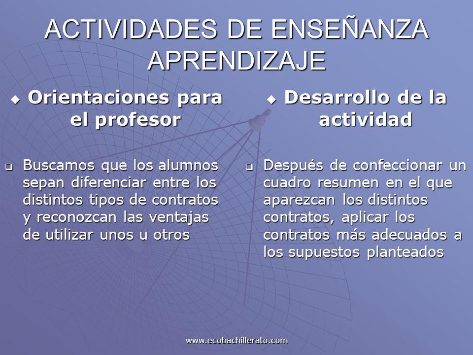 www.ecobachillerato.com ACTIVIDADES DE ENSEÑANZA APRENDIZAJE Orientaciones para el profesor Orientaciones para el profesor Buscamos que los alumnos se