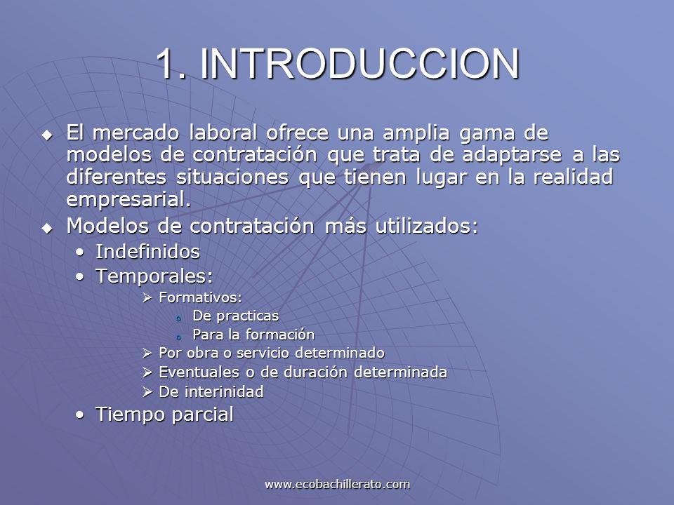 www.ecobachillerato.com 1. INTRODUCCION El mercado laboral ofrece una amplia gama de modelos de contratación que trata de adaptarse a las diferentes s