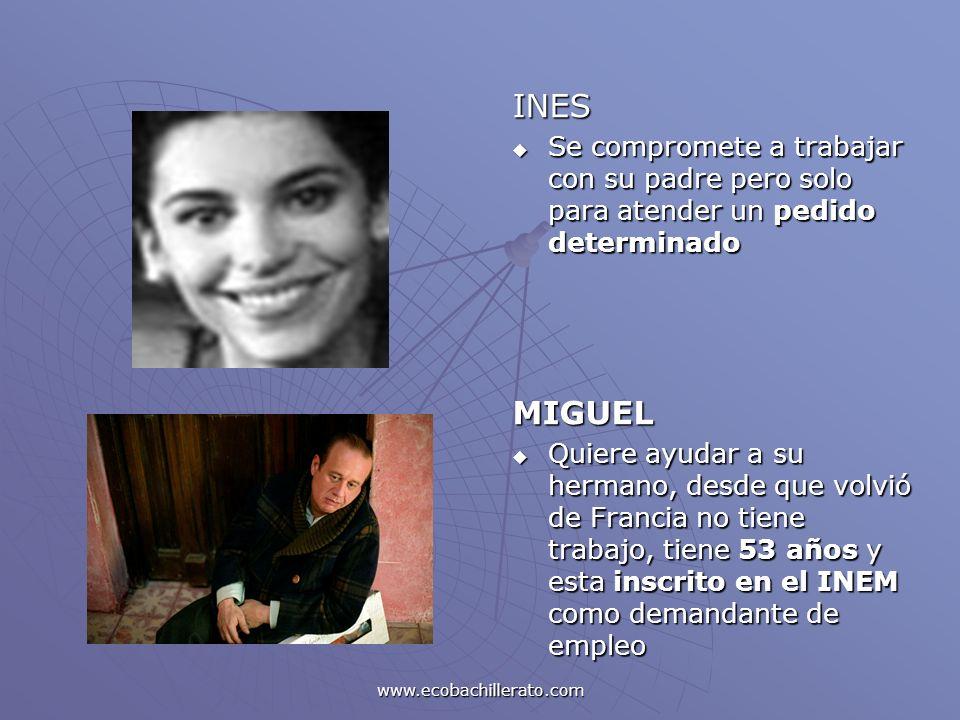 www.ecobachillerato.com INES Se compromete a trabajar con su padre pero solo para atender un pedido determinado Se compromete a trabajar con su padre