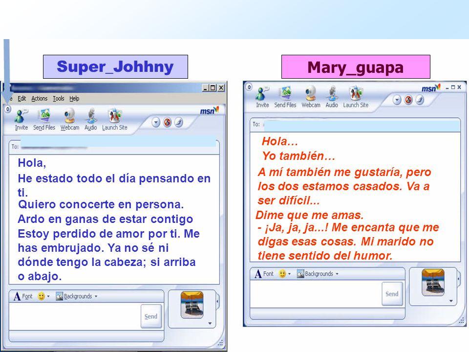 Super_Johhny Mary_guapa Hola, Hola… He estado todo el día pensando en ti. Yo también… Quiero conocerte en persona. A mí también me gustaría, pero los