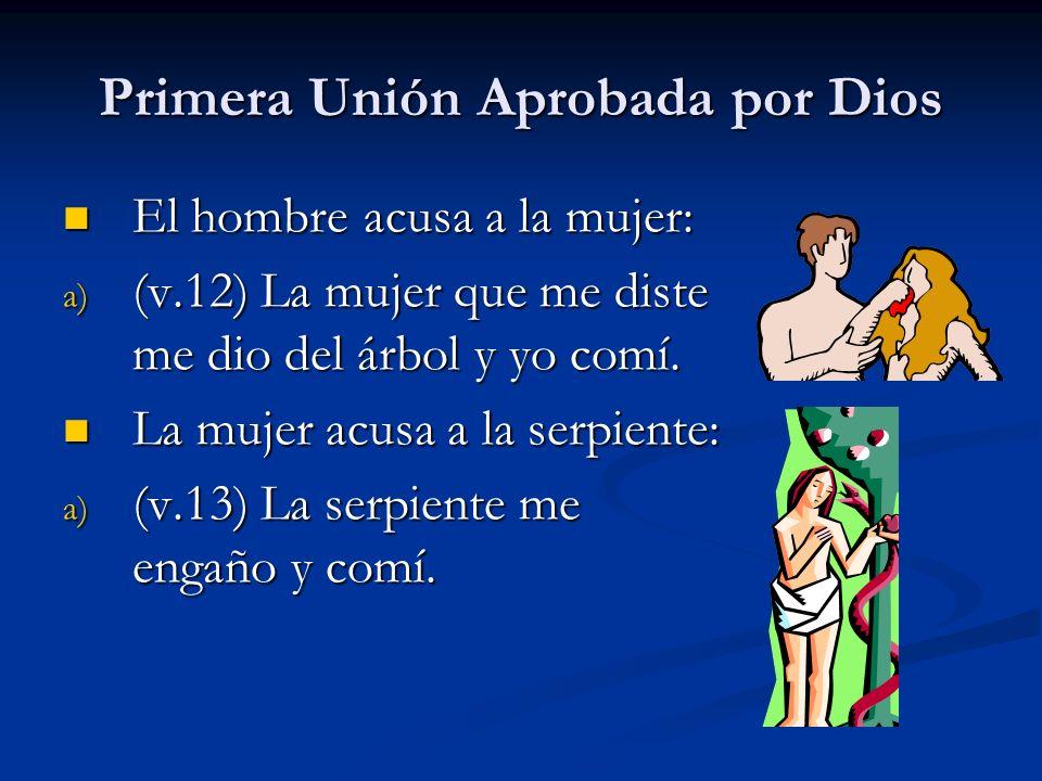 Primera Unión Aprobada por Dios El hombre acusa a la mujer: El hombre acusa a la mujer: a) (v.12) La mujer que me diste me dio del árbol y yo comí.