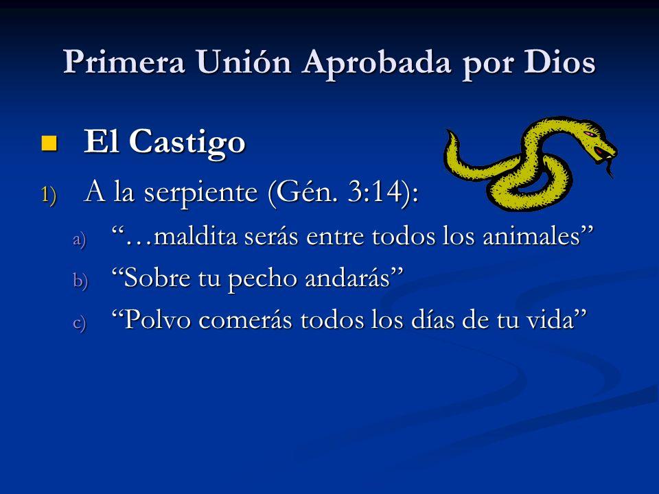 Primera Unión Aprobada por Dios El Castigo El Castigo 1) A la serpiente (Gén. 3:14): a) …maldita serás entre todos los animales b) Sobre tu pecho anda