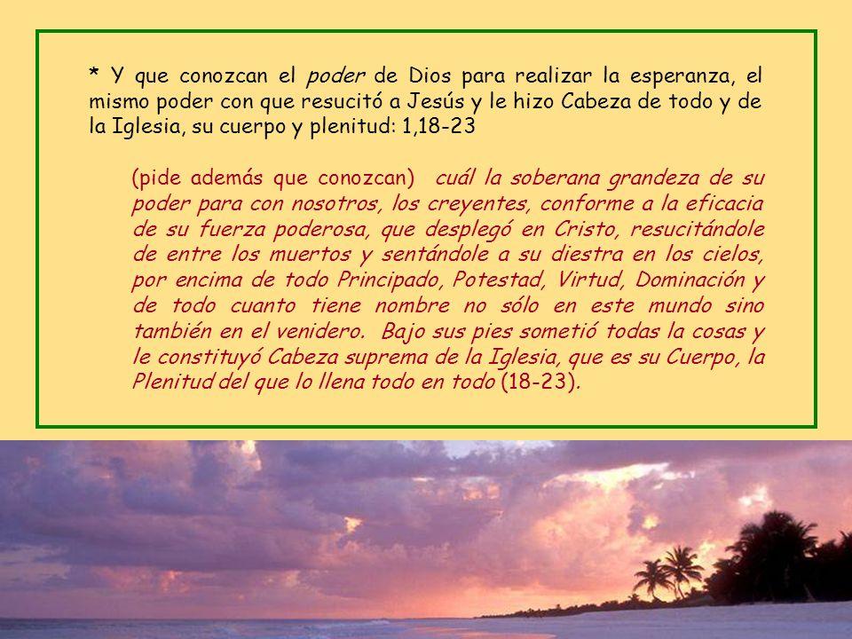 * Acción de gracias por la fe y el amor: 1,15-16 Por eso, también yo, al tener noticia de vuestra fe en el Señor Jesús y de vuestra caridad para con t