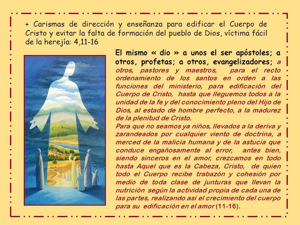 * Unidad en la variedad de carismas, todos ellos frutos de la resurrección de Jesús y capacitan para actualizar en la Iglesia la obra de Jesús, edific