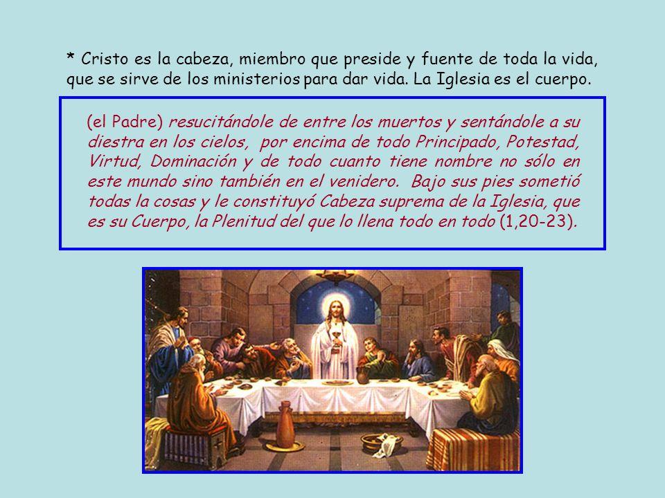 * Efesios desarrolla y profundiza el tema cuerpo de Cristo que empleó Pablo en 1 Corintios 12 y en Romanos 12,4-8. * Cristo en virtud de su resurrecci