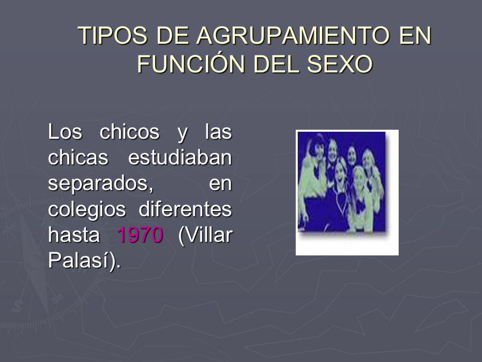 TIPOS DE AGRUPAMIENTO EN FUNCIÓN DEL SEXO Los chicos y las chicas estudiaban separados, en colegios diferentes hasta 1970 (Villar Palasí).