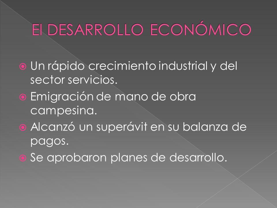 Un rápido crecimiento industrial y del sector servicios. Emigración de mano de obra campesina. Alcanzó un superávit en su balanza de pagos. Se aprobar