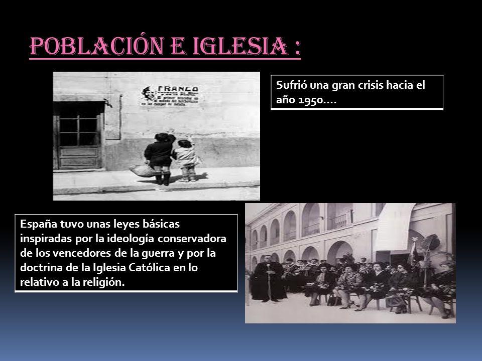 Población e iglesia : Sufrió una gran crisis hacia el año 1950…. España tuvo unas leyes básicas inspiradas por la ideología conservadora de los venced
