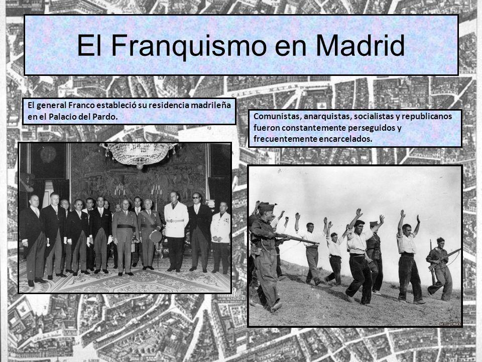 El general Franco estableció su residencia madrileña en el Palacio del Pardo. Comunistas, anarquistas, socialistas y republicanos fueron constantement