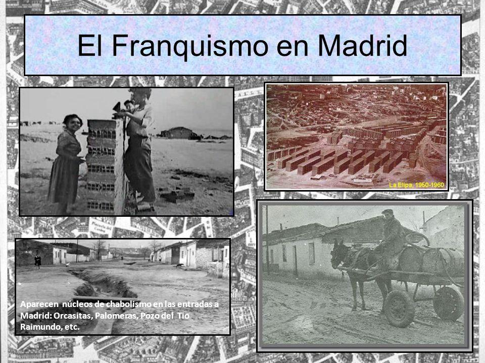 El Franquismo en Madrid Aparecen núcleos de chabolismo en las entradas a Madrid: Orcasitas, Palomeras, Pozo del Tio Raimundo, etc.