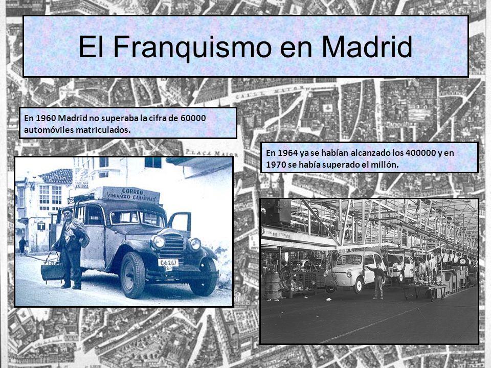 El Franquismo en Madrid En 1960 Madrid no superaba la cifra de 60000 automóviles matriculados. En 1964 ya se habían alcanzado los 400000 y en 1970 se