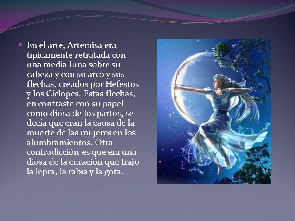 En el arte, Artemisa era típicamente retratada con una media luna sobre su cabeza y con su arco y sus flechas, creados por Hefestos y los Cíclopes. Es