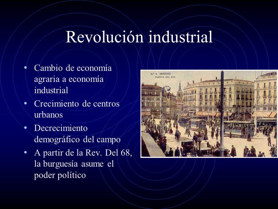 Revolución industrial Cambio de economía agraria a economía industrial Crecimiento de centros urbanos Decrecimiento demográfico del campo A partir de la Rev.
