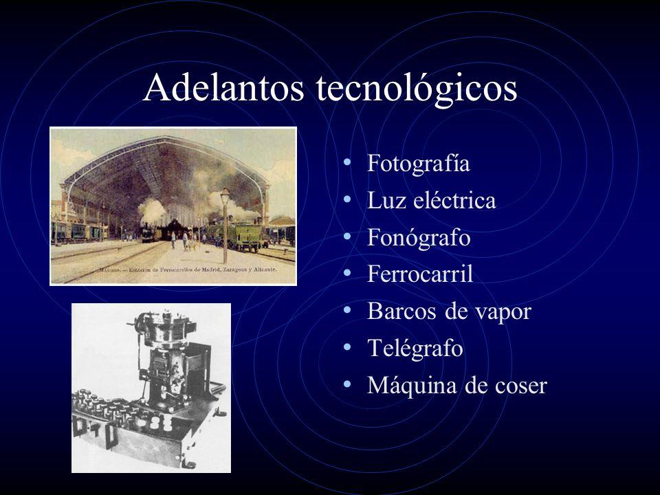 Adelantos tecnológicos Fotografía Luz eléctrica Fonógrafo Ferrocarril Barcos de vapor Telégrafo Máquina de coser