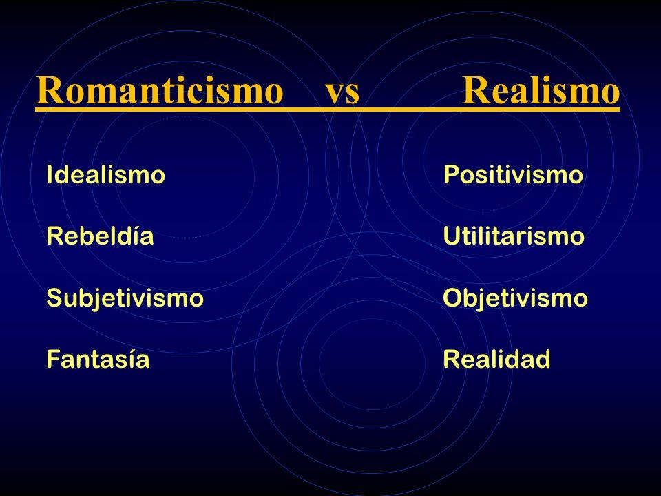 Romanticismo vs Realismo Idealismo Positivismo RebeldíaUtilitarismo SubjetivismoObjetivismo FantasíaRealidad