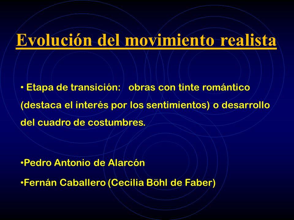 Evolución del movimiento realista Etapa de transición: obras con tinte romántico (destaca el interés por los sentimientos) o desarrollo del cuadro de costumbres.