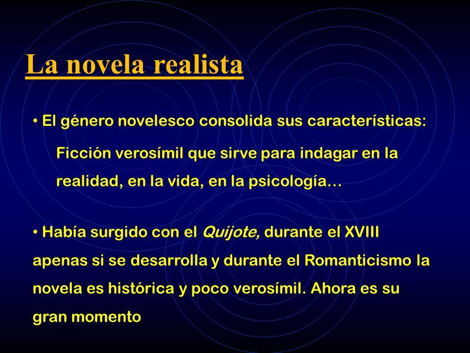 La novela realista El género novelesco consolida sus características: Ficción verosímil que sirve para indagar en la realidad, en la vida, en la psico