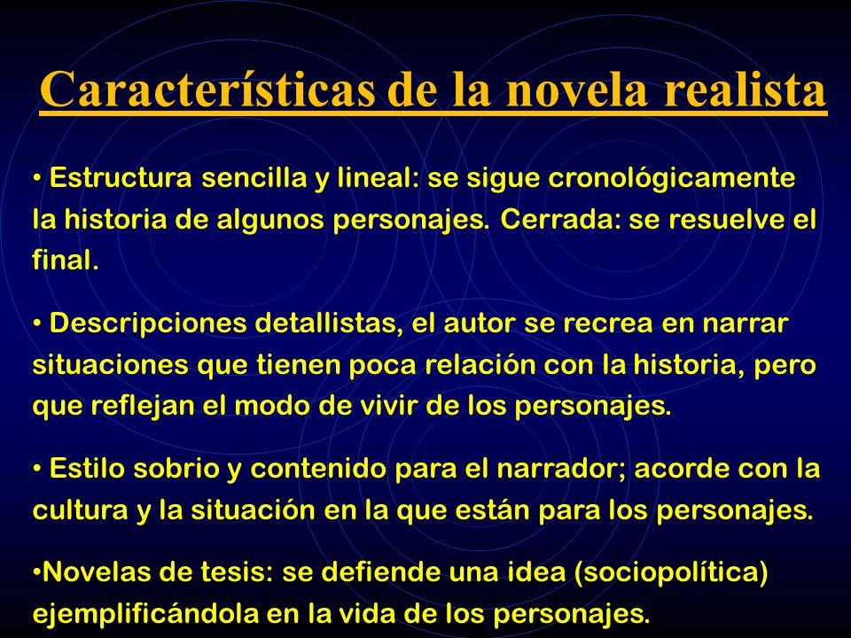 Características de la novela realista Estructura sencilla y lineal: se sigue cronológicamente la historia de algunos personajes. Cerrada: se resuelve