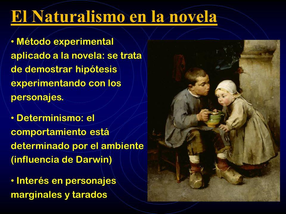 El Naturalismo en la novela Método experimental aplicado a la novela: se trata de demostrar hipótesis experimentando con los personajes. Determinismo: