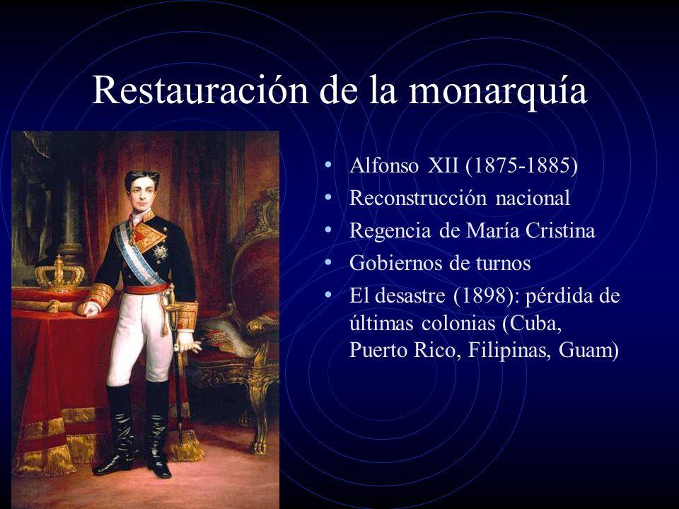 Restauración de la monarquía Alfonso XII (1875-1885) Reconstrucción nacional Regencia de María Cristina Gobiernos de turnos El desastre (1898): pérdid