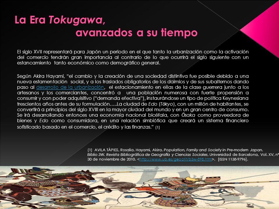 La Era Tokugawa, avanzados a su tiempo Tras el expansionismo colonial y sus efectos Éxodo rural vs industria: una desigual distribución de la població