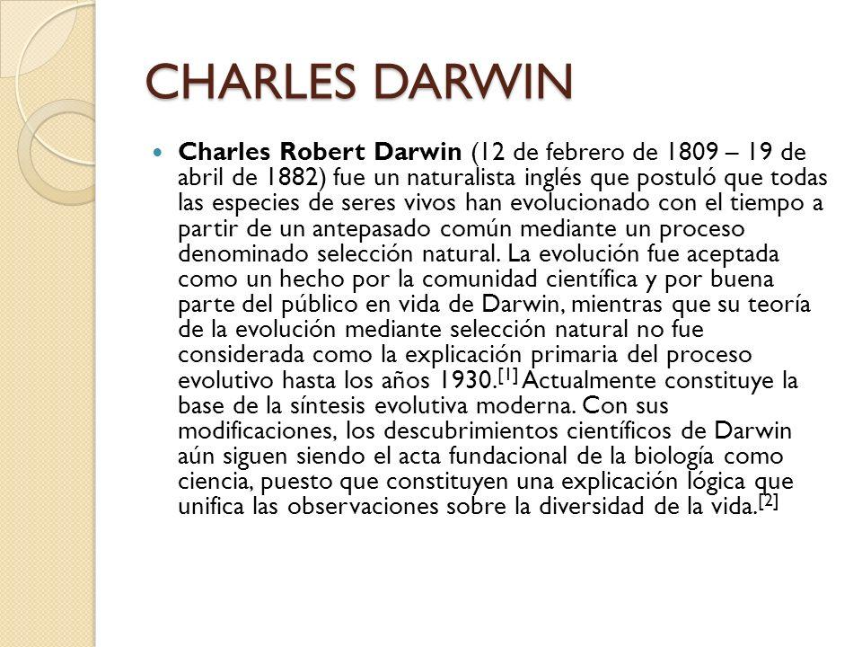 CHARLES DARWIN Charles Robert Darwin (12 de febrero de 1809 – 19 de abril de 1882) fue un naturalista inglés que postuló que todas las especies de ser