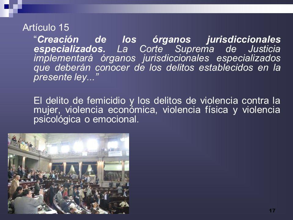 17 Artículo 15 Creación de los órganos jurisdiccionales especializados. La Corte Suprema de Justicia implementará órganos jurisdiccionales especializa