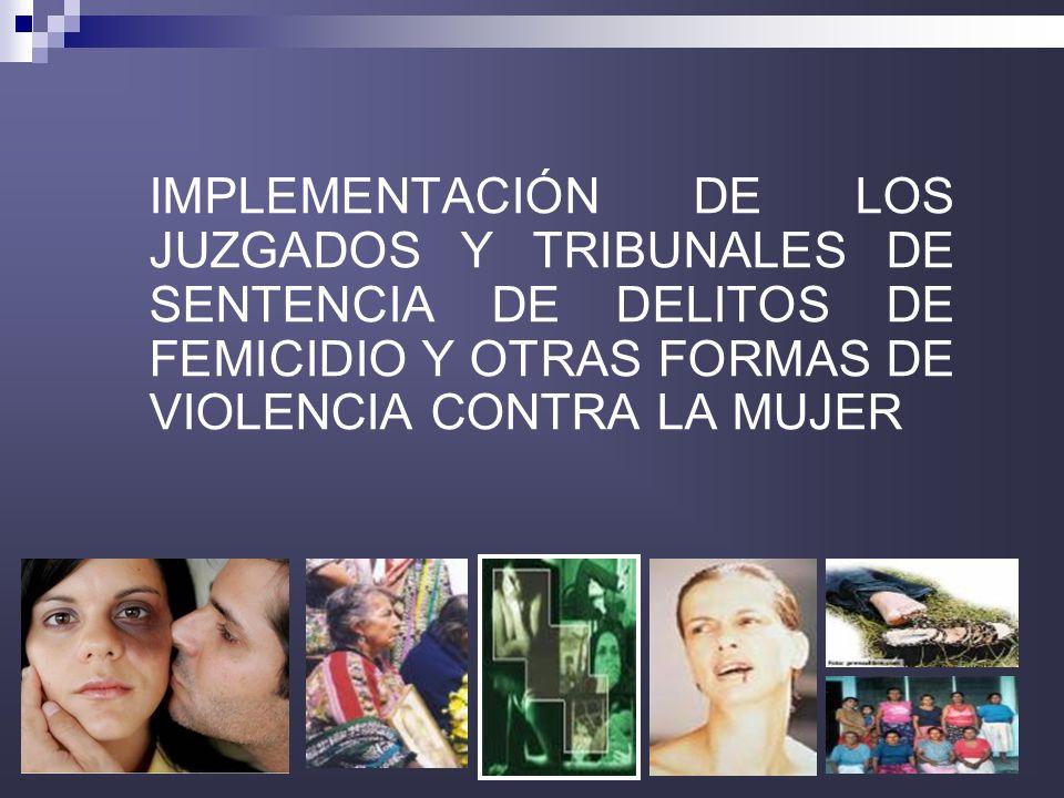 32 IMPLEMENTACIÓN DE LOS JUZGADOS Y TRIBUNALES DE SENTENCIA DE DELITOS DE FEMICIDIO Y OTRAS FORMAS DE VIOLENCIA CONTRA LA MUJER