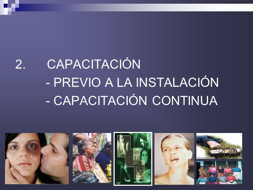 34 2. CAPACITACIÓN - PREVIO A LA INSTALACIÓN - CAPACITACIÓN CONTINUA