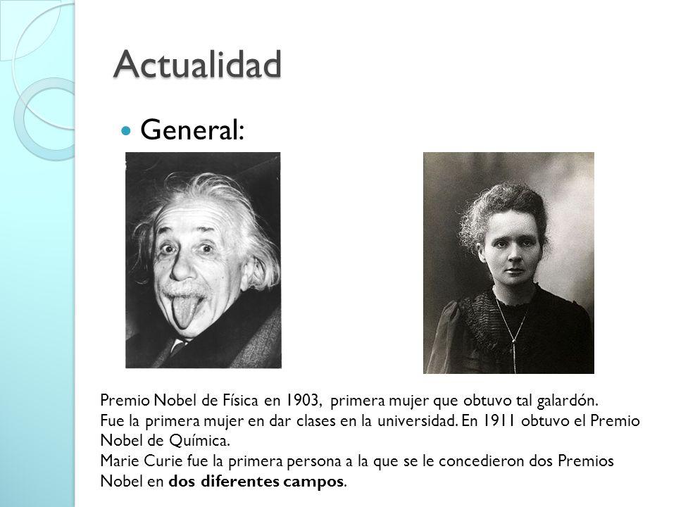 Actualidad General: Premio Nobel de Física en 1903, primera mujer que obtuvo tal galardón.