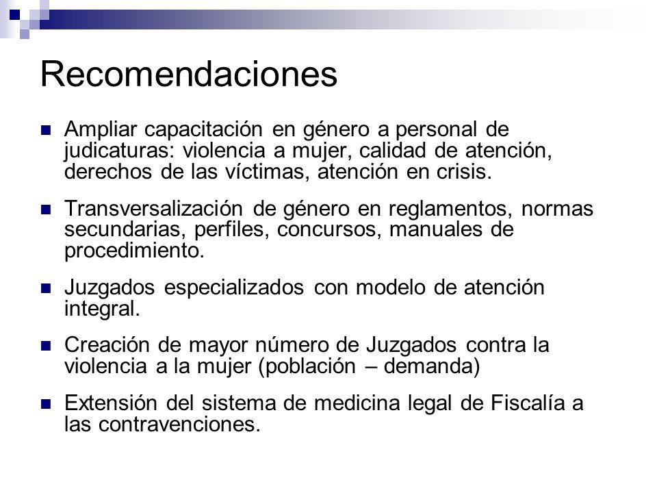 Recomendaciones Ampliar capacitación en género a personal de judicaturas: violencia a mujer, calidad de atención, derechos de las víctimas, atención en crisis.