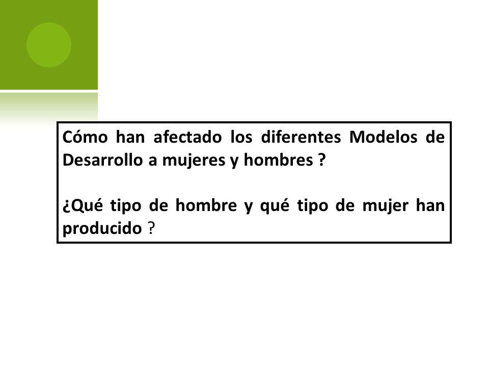 Cómo han afectado los diferentes Modelos de Desarrollo a mujeres y hombres .