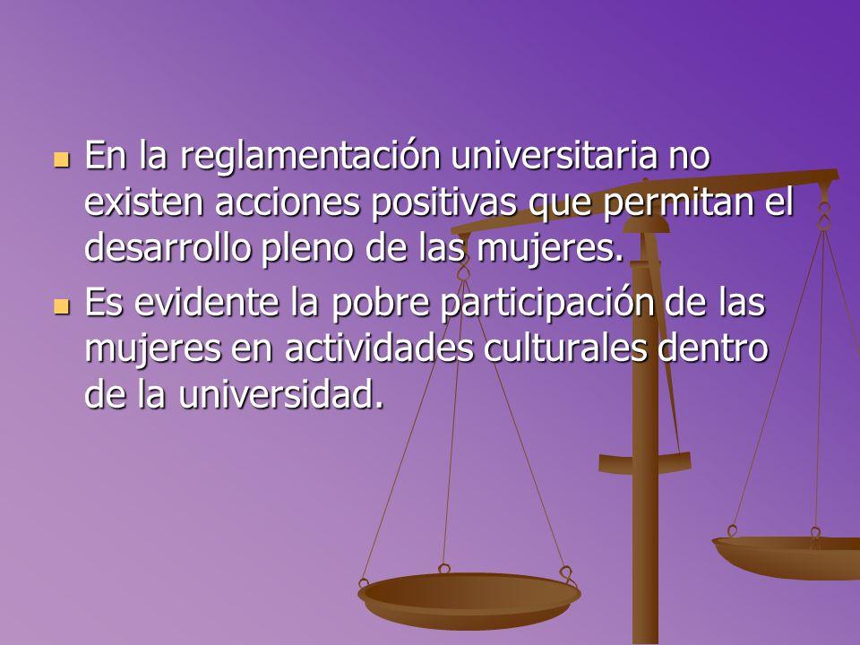 En la reglamentación universitaria no existen acciones positivas que permitan el desarrollo pleno de las mujeres.