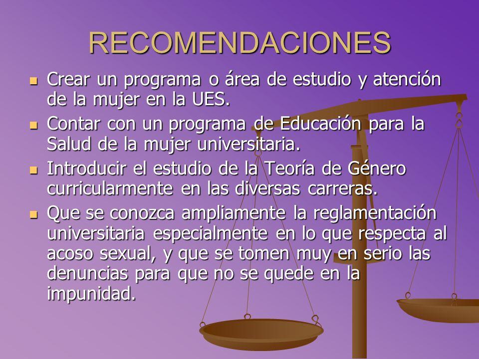 RECOMENDACIONES Crear un programa o área de estudio y atención de la mujer en la UES.