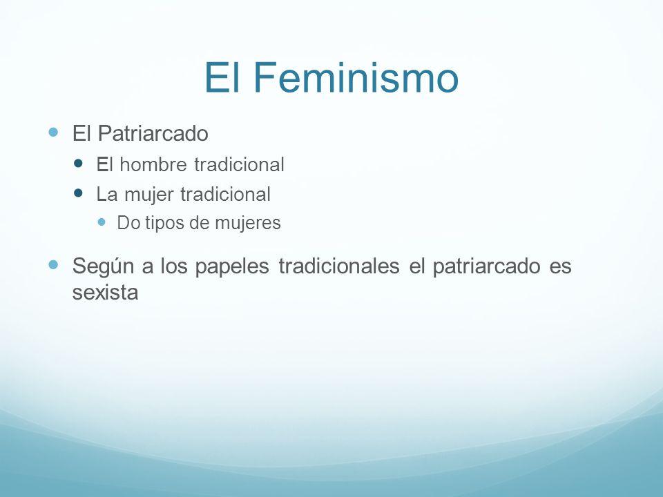 El Feminismo El Patriarcado El hombre tradicional La mujer tradicional Do tipos de mujeres Según a los papeles tradicionales el patriarcado es sexista