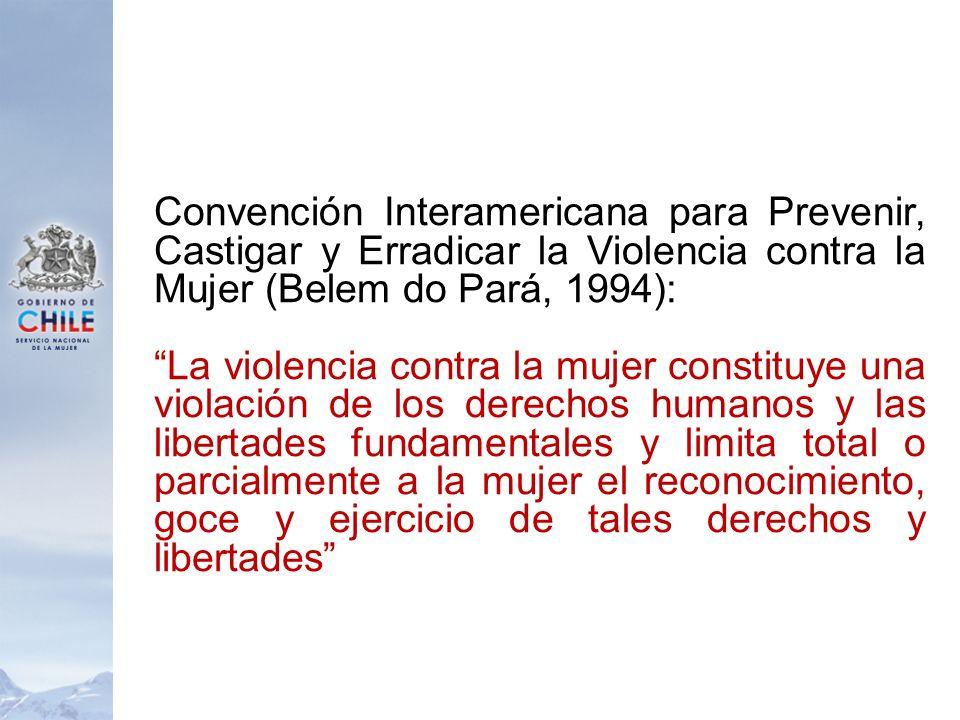 Convención Interamericana para Prevenir, Castigar y Erradicar la Violencia contra la Mujer (Belem do Pará, 1994): La violencia contra la mujer constit