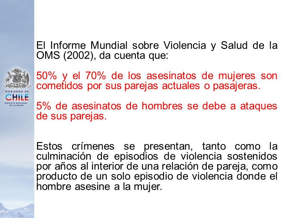 El Informe Mundial sobre Violencia y Salud de la OMS (2002), da cuenta que: 50% y el 70% de los asesinatos de mujeres son cometidos por sus parejas ac