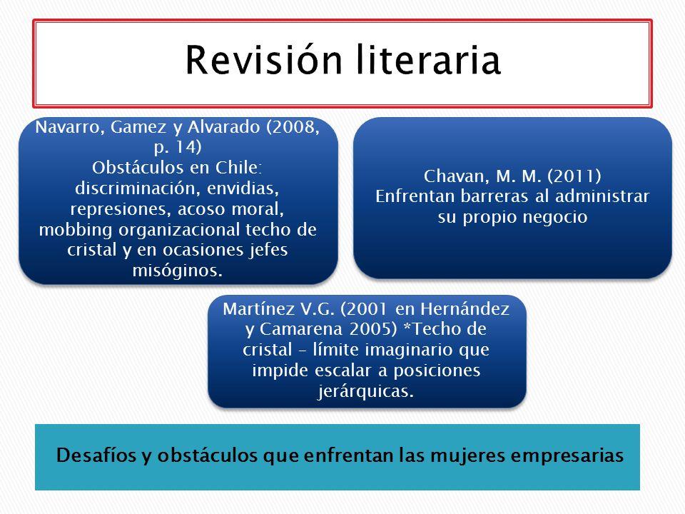Desafíos y obstáculos que enfrentan las mujeres empresarias Navarro, Gamez y Alvarado (2008, p. 14) Obstáculos en Chile: discriminación, envidias, rep