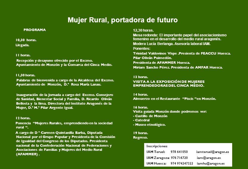 Mujer Rural, portadora de futuro 12,30 horas.
