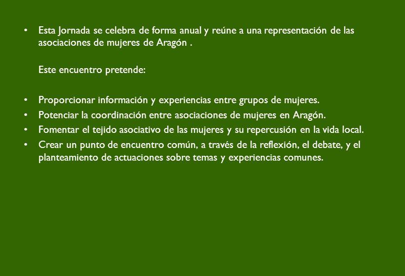 Esta Jornada se celebra de forma anual y reúne a una representación de las asociaciones de mujeres de Aragón.